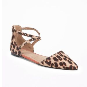 10 Old Navy Leopard D'Orsay Flats Sandals Bling